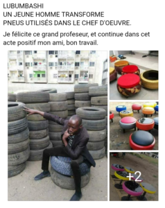 Capture d'écran, Basetege Kamagate devant des pneus. A droite, exposition des pneus déjà transformés en poufs
