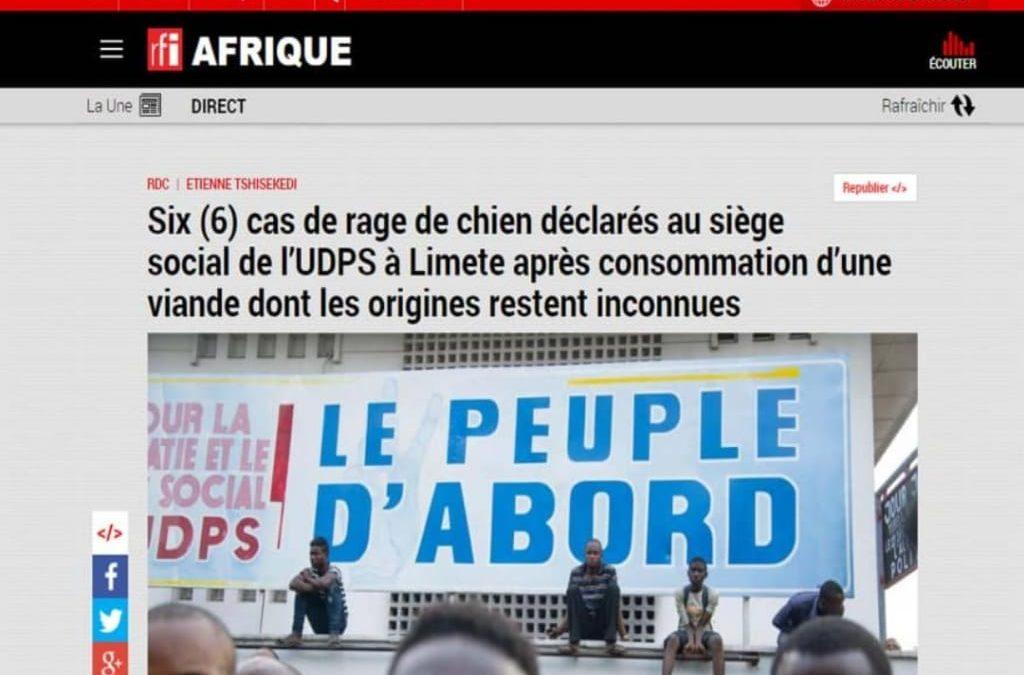 Attention, l'article attribué à Rfi sur une prétendue rage de chien au siege de l'UDPS est une infox