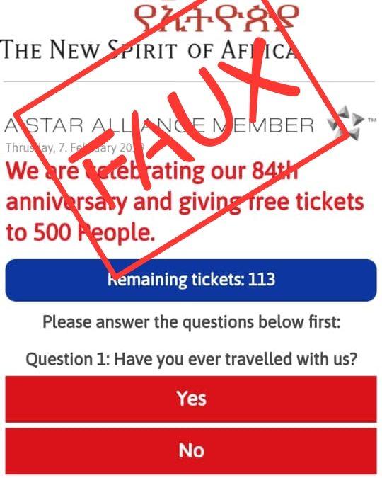 Faux, Ethiopian Airlines n'offre pas de billets gratuits pour son anniversaire