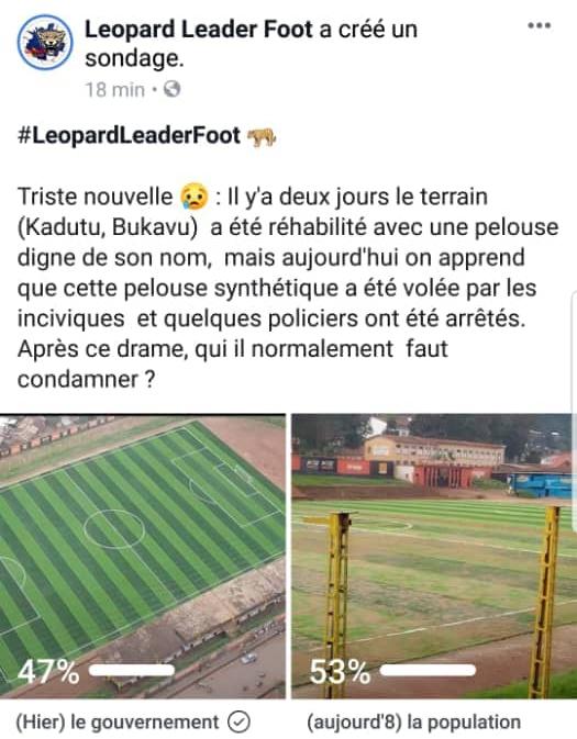 Desintox: la pelouse synthétique du stade de Kadutu à Bukavu n'a pas été volée