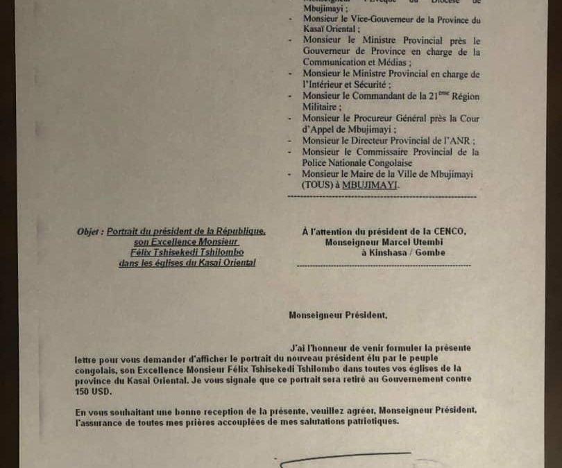 L'effigie du président dans les églises du Kasaï oriental: ce document attribué au gouverneur est un faux