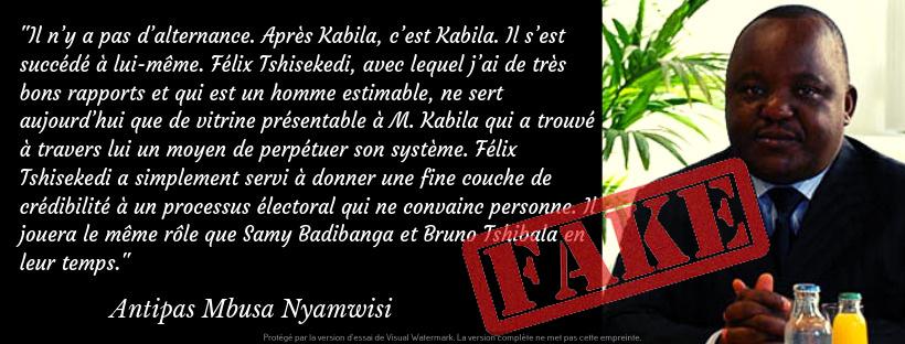 « Il n'y a pas d'alternance. Après Kabila, c'est Kabila… », ces propos de Mbusa Nyamwisi ont été sortis du contexte et datent d'une année ! (Corrigé)