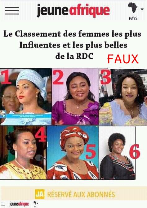 Le classement de plus belles femmes de la RDC attribué à Jeune Afrique est un faux