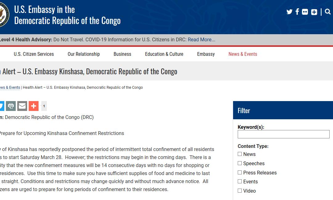 COVID19: Vrai, l'ambassade des USA a émis une alerte-santé portant sur un possible confinement de Kinshasa