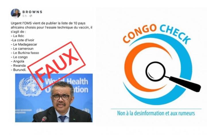 Faux, il n'existe aucune liste des pays africains choisis par l'OMS pour l'essaie du vaccin contre le Covid19
